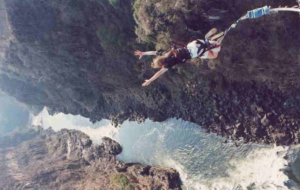 Bungee down Vic Falls bridge - at that time (1995) the World's Highest Natural Bungi (111m)